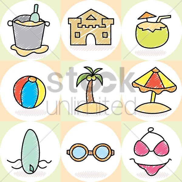 collection of beach articles vector graphic
