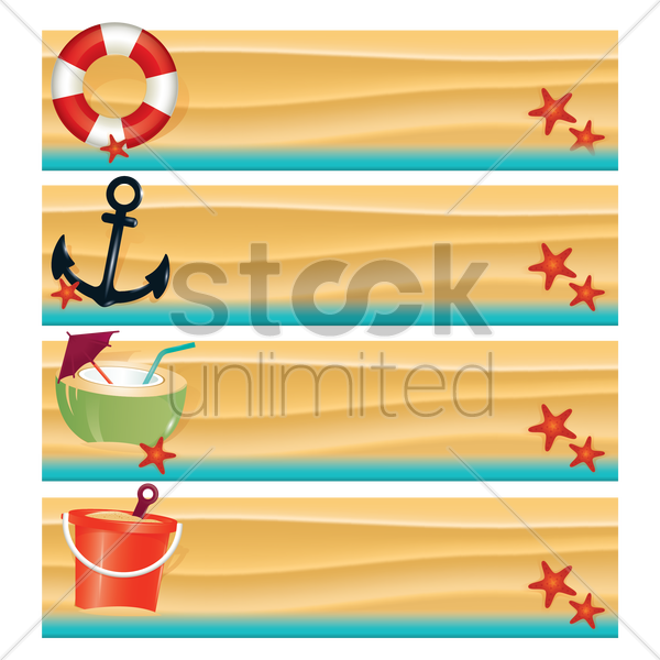 collection of beach banners vector graphic