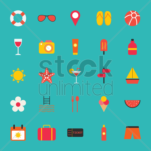 collection of beach icons vector graphic