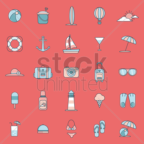 Free collection of beach icons vector graphic