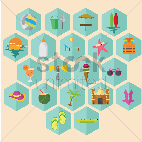 collection of beach related objects vector graphic