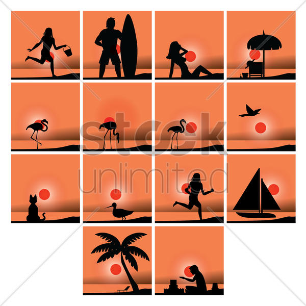collection of beach silhouette vector graphic