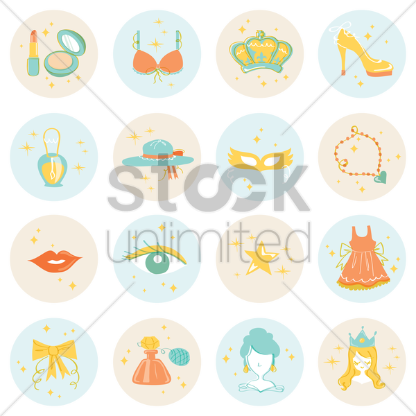 collection of beauty accessories vector graphic