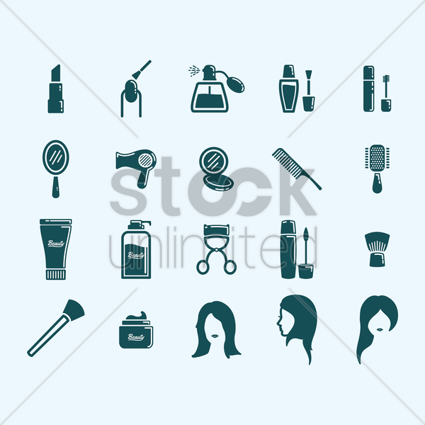 collection of beauty products vector graphic