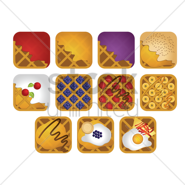 collection of belgian food vector graphic
