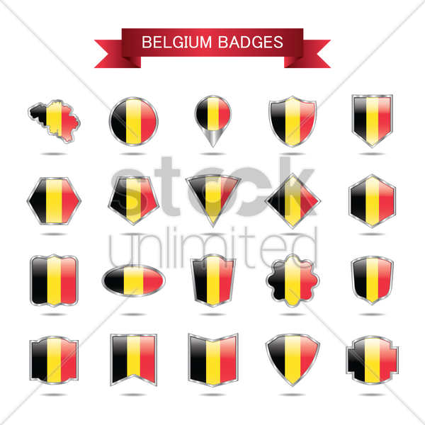 collection of belgium badges vector graphic
