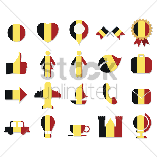 collection of belgium flag icons vector graphic