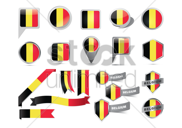 collection of belgium icons vector graphic