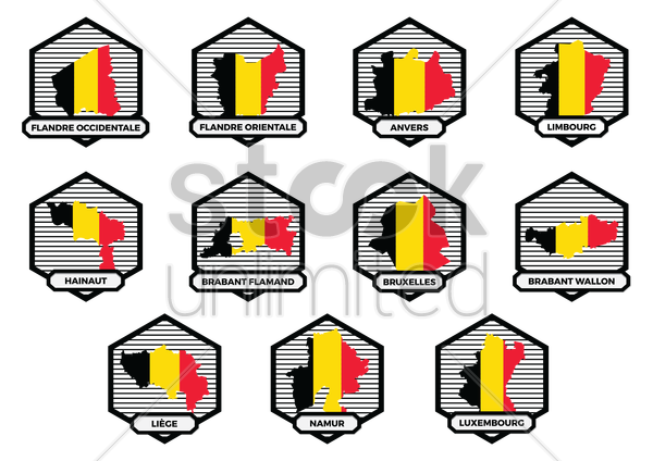 collection of belgium state map vector graphic