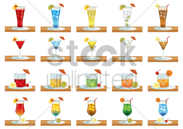collection of beverage glasses vector graphic
