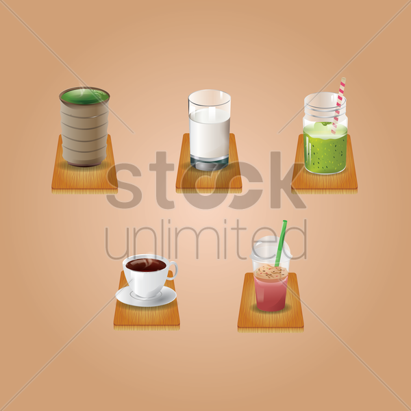 collection of beverages vector graphic