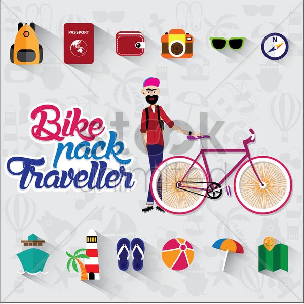 collection of bike pack traveller elements vector graphic