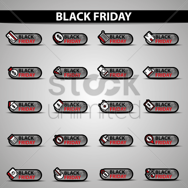 collection of black friday button designs vector graphic