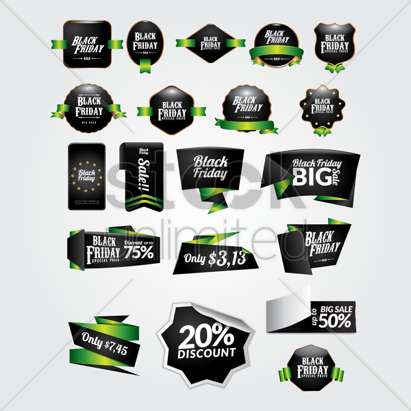 collection of black friday icons vector graphic