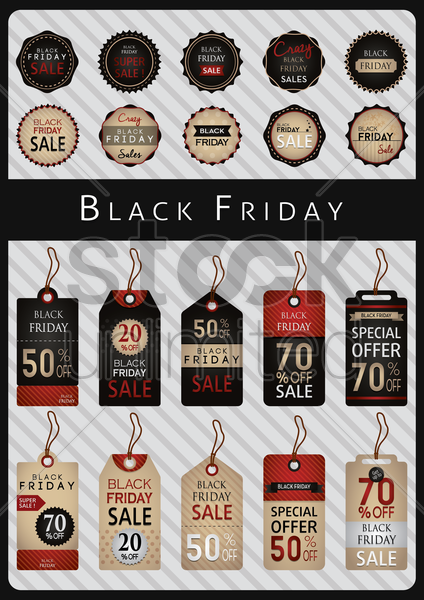 collection of black friday labels and tags vector graphic