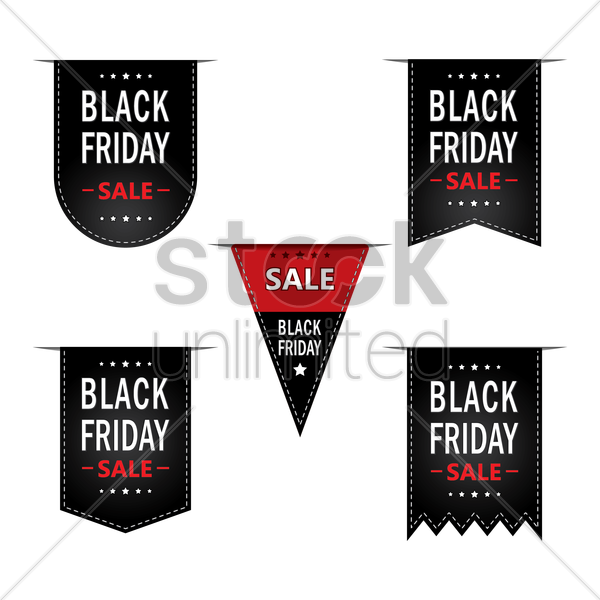 collection of black friday sale bookmarks vector graphic