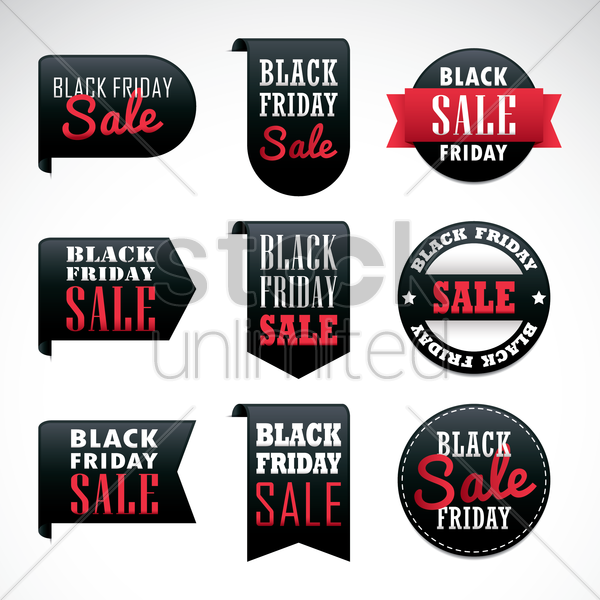 collection of black friday sale labels vector graphic