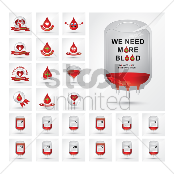 Free collection of blood donation icons vector graphic