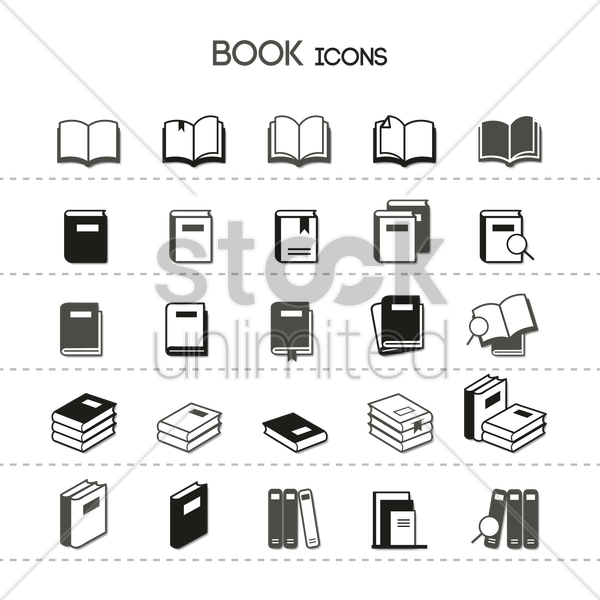 collection of book icons vector graphic