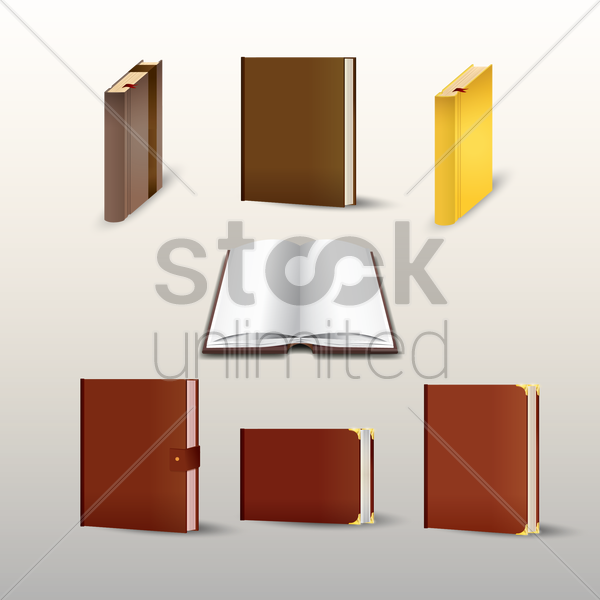 collection of books and diaries vector graphic
