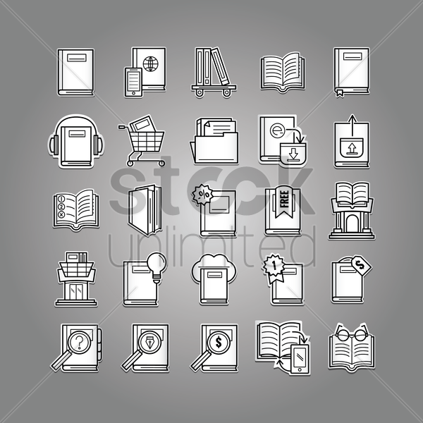 collection of books icons vector graphic