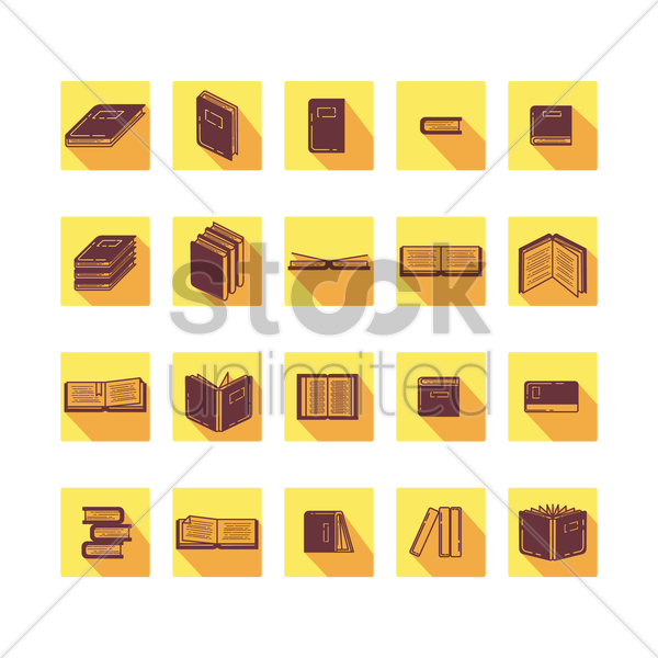 Free collection of books icons vector graphic