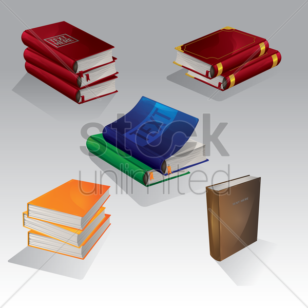 collection of books vector graphic