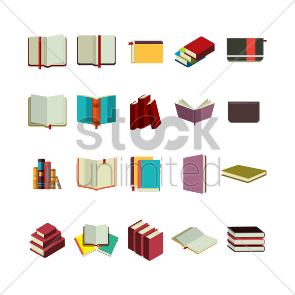 Free collection of books vector graphic