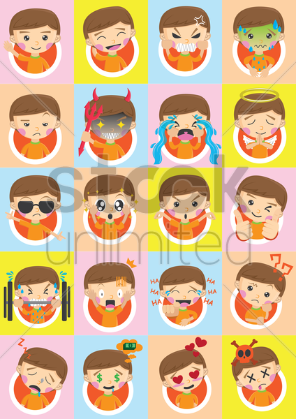 collection of boy emoticons vector graphic