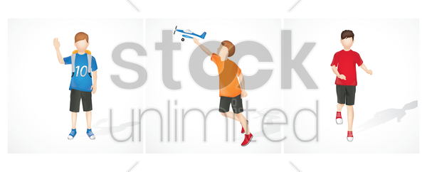 collection of boys and activities vector graphic