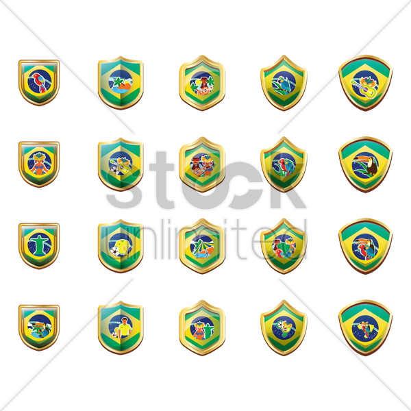 collection of brazil badges vector graphic