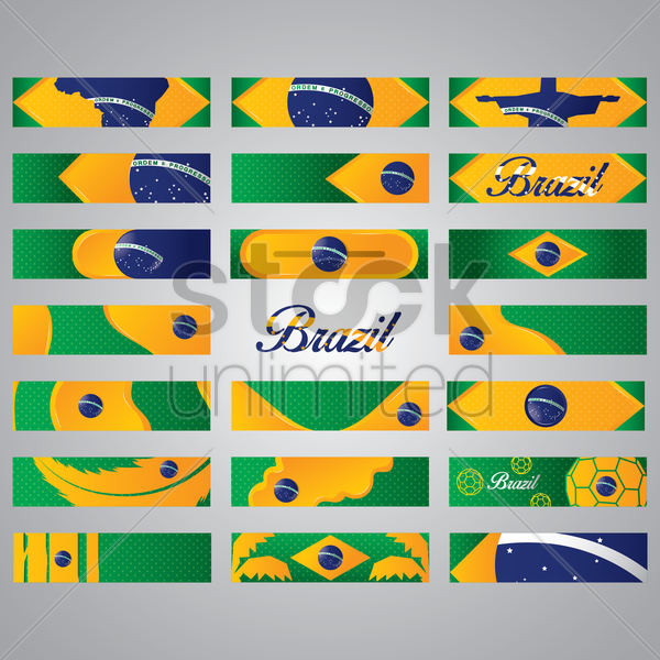 collection of brazil banner vector graphic