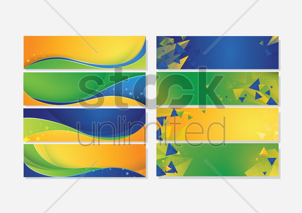 collection of brazil concept sports banner vector graphic