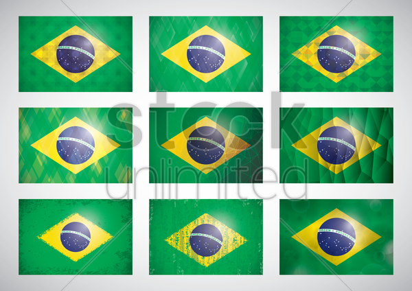 collection of brazil flag icons vector graphic