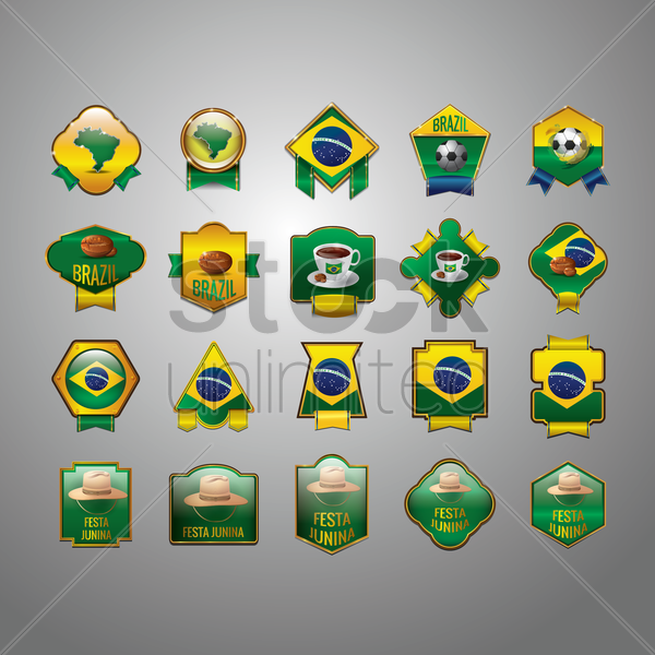 collection of brazil icons vector graphic