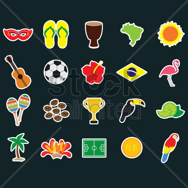 collection of brazilian stickers vector graphic
