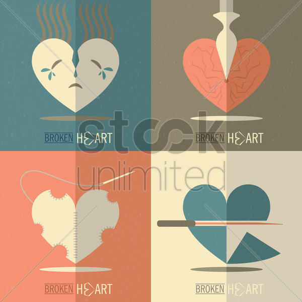 collection of broken heart cards vector graphic