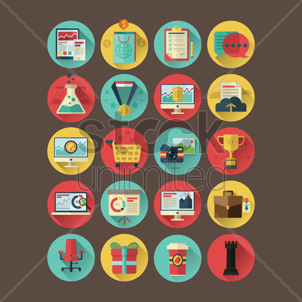 collection of business and shopping icons vector graphic