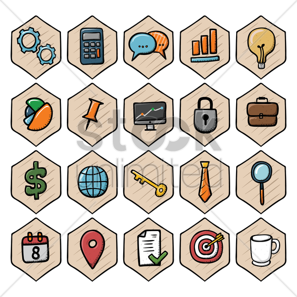 collection of business icon vector graphic