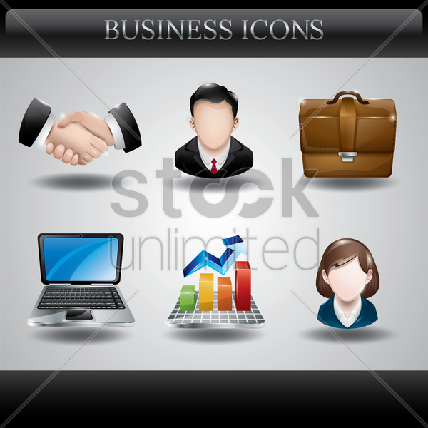 collection of business icons vector graphic