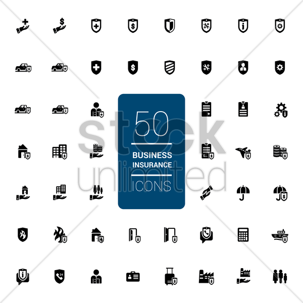 collection of business insurance icons vector graphic