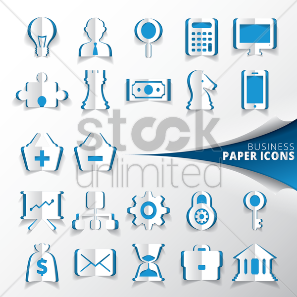 collection of business paper icons vector graphic