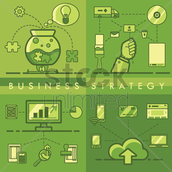 collection of business strategy concept vector graphic