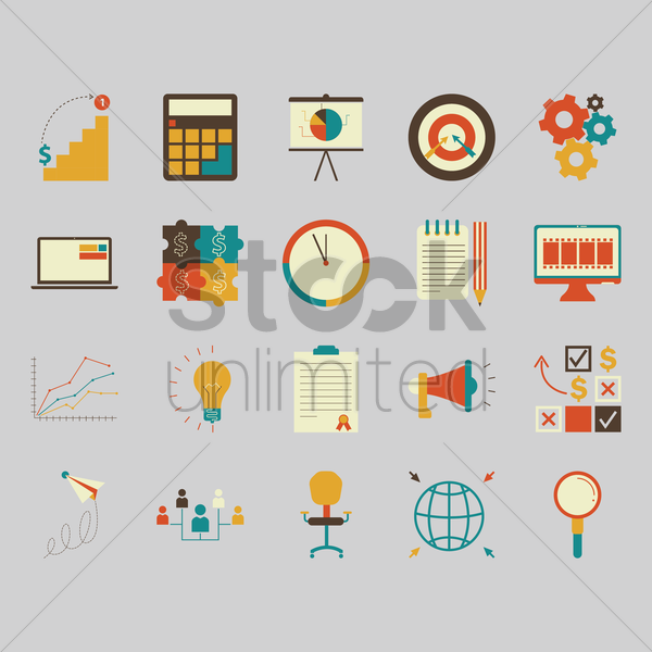 Free collection of business strategy icons vector graphic