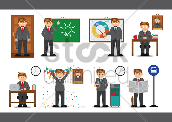 collection of businessmen vector graphic