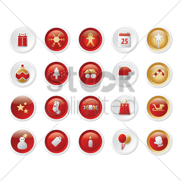 collection of buttons vector graphic