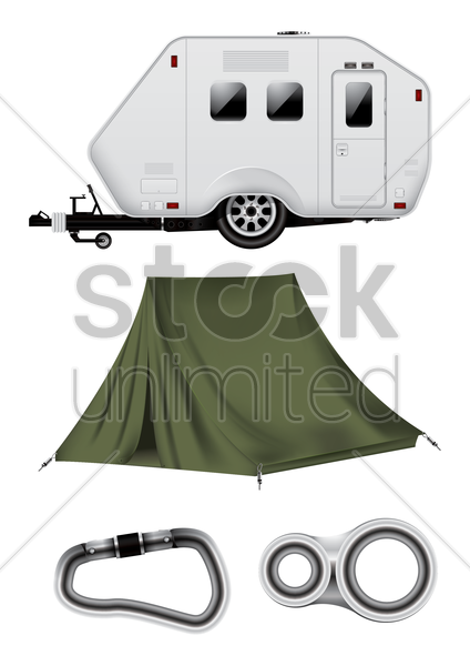 collection of camping equipment vector graphic