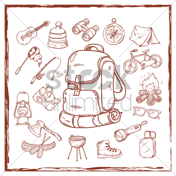 collection of camping icons vector graphic