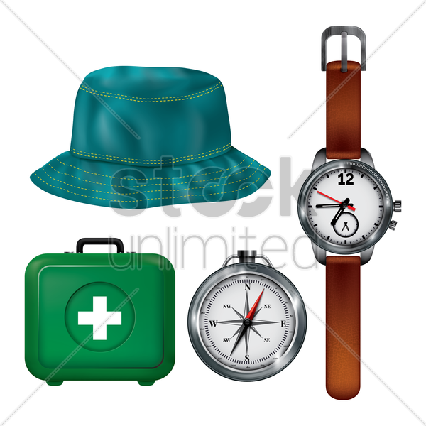 collection of camping objects vector graphic