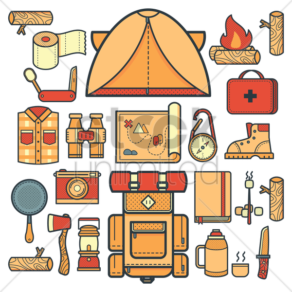 collection of camping related things vector graphic